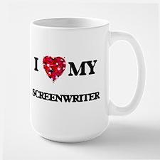 I love my Screenwriter hearts design Mugs