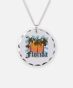Florida The Sunshine State Necklace Circle Charm