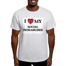 I love my Social Researcher hearts design T-Shirt
