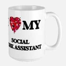 I love my Social Work Assistant hearts design Mugs