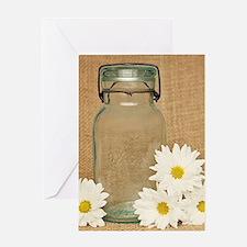Vintage Mason Jar White Daisies Greeting Cards