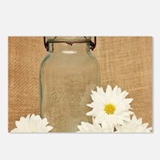 Vintage Mason Jar White Daisies Postcards (Package