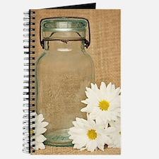 Vintage Mason Jar White Daisies Journal