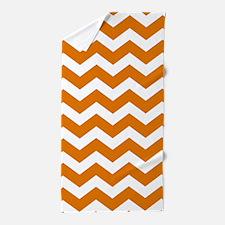 Burnt Orange Chevron Pattern Beach Towel