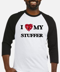I love my Stuffer hearts design Baseball Jersey