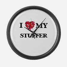 I love my Stuffer hearts design Large Wall Clock