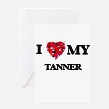 I love my Tanner hearts design Greeting Cards