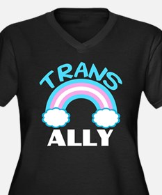 Transgender Women's Plus Size V-Neck Dark T-Shirt