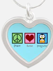 Cute Penguin Silver Heart Necklace