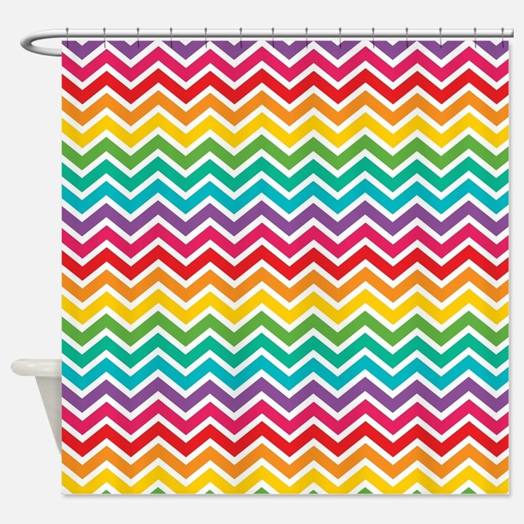 Chevron Shower Curtains rainbow chevron shower curtains | rainbow chevron fabric shower