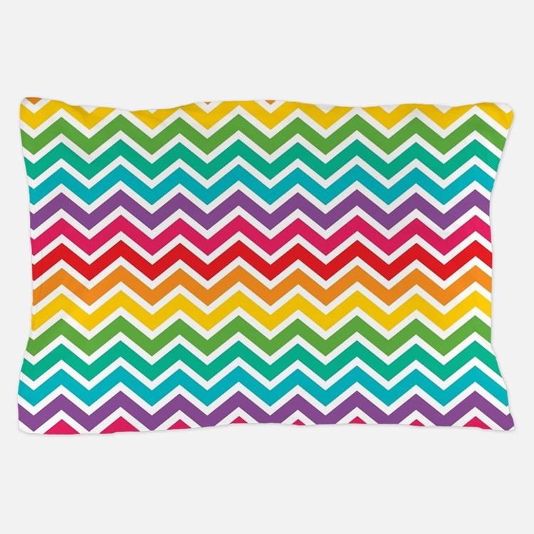Cheerful Rainbow Chevron Pillow Case