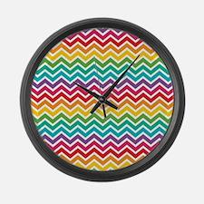 Cheerful Rainbow Chevron Large Wall Clock