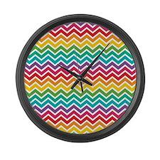 Rainbow Chevron Large Wall Clock