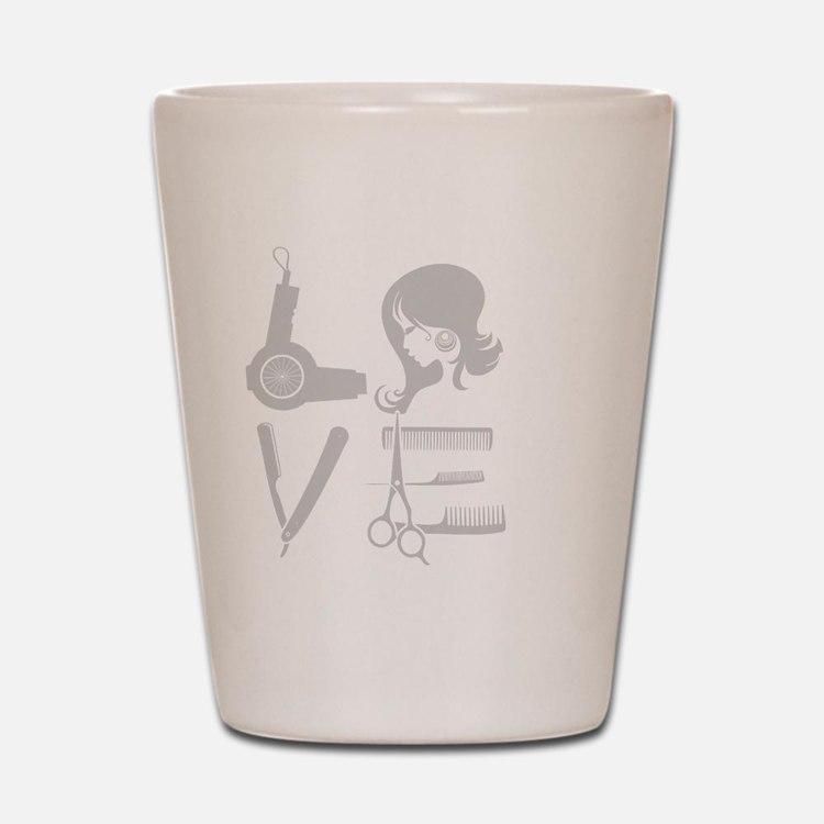 love and hair Shot Glass