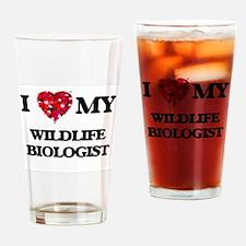 I love my Wildlife Biologist hearts Drinking Glass