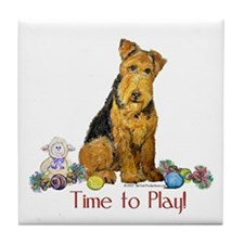 Time to Play Airedale! Tile Coaster