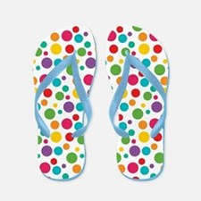 Cheerful Rainbow Polka Dots Flip Flops