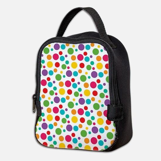 Cheerful Rainbow Polka Dots Neoprene Lunch Bag