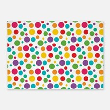 Cheerful Rainbow Polka Dots 5'x7'Area Rug