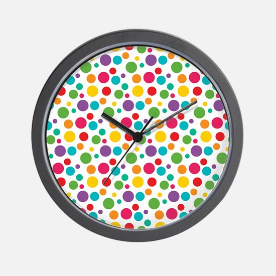 Cheerful Rainbow Polka Dots Wall Clock