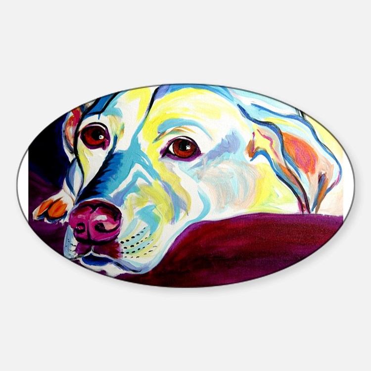 Cute Yellow lab painting Sticker (Oval)