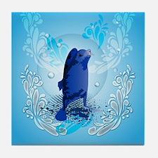 Cute walrus with decorative splash elements Tile C