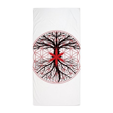 tree of life flower of life beach towel by rootsreggaeapparel. Black Bedroom Furniture Sets. Home Design Ideas