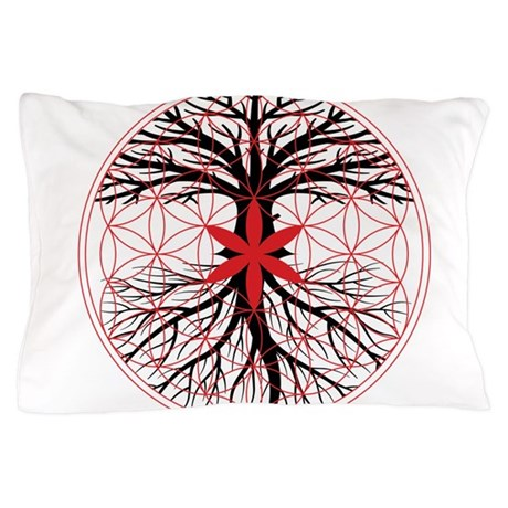tree of life flower of life pillow case by rootsreggaeapparel. Black Bedroom Furniture Sets. Home Design Ideas