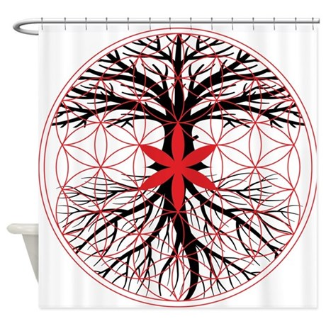 tree of life flower of life shower curtain by rootsreggaeapparel. Black Bedroom Furniture Sets. Home Design Ideas