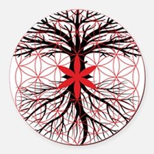 Tree of Life / Flower of Life Round Car Magnet