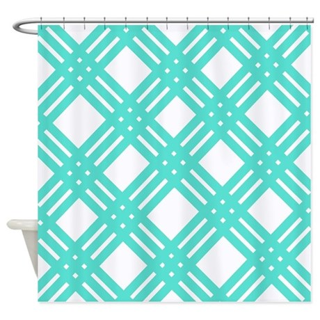 Aqua And White Gingham Lattice Shower Curtain By