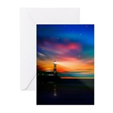 Sunrise Over The Sea And Lighthouse Greeting Cards