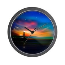 Sunrise Over The Sea And Lighthouse Wall Clock