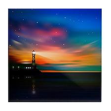 Sunrise Over The Sea And Lighthouse Tile Coaster