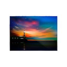 Sunrise Over The Sea And Lighthouse 5'x7'Area Rug