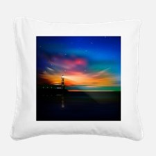 Sunrise Over The Sea And Lighthouse Square Canvas