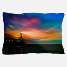 Sunrise Over The Sea And Lighthouse Pillow Case