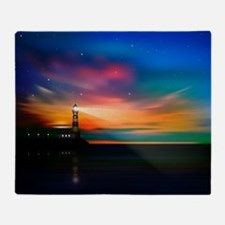 Sunrise Over The Sea And Lighthouse Throw Blanket