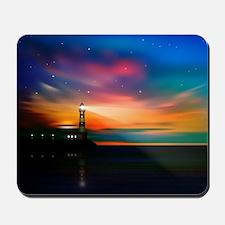 Sunrise Over The Sea And Lighthouse Mousepad
