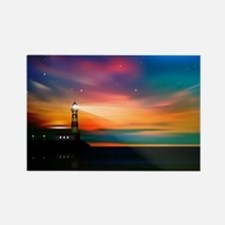 Sunrise Over The Sea And Lighthouse Magnets