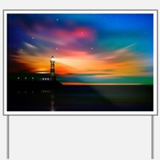 Sunrise Over The Sea And Lighthouse Yard Sign