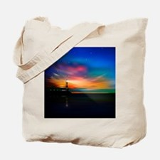 Sunrise Over The Sea And Lighthouse Tote Bag