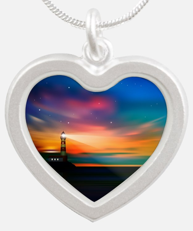 Sunrise Over The Sea And Lighthouse Necklaces