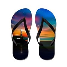 Sunrise Over The Sea And Lighthouse Flip Flops
