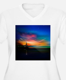 Sunrise Over The Sea And Lighthouse Plus Size T-Sh
