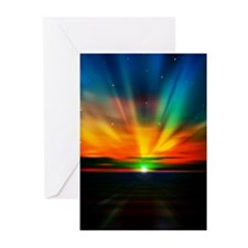 Sunset Over The Water Greeting Cards