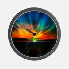 Sunset Over The Water Wall Clock