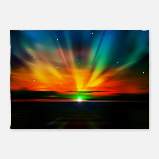 Sunset Over The Water 5'x7'Area Rug