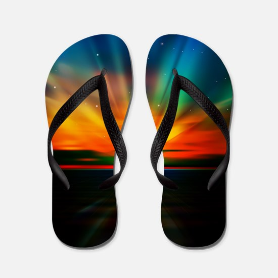 Sunset Over The Water Flip Flops