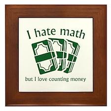 I Hate Math Framed Tile